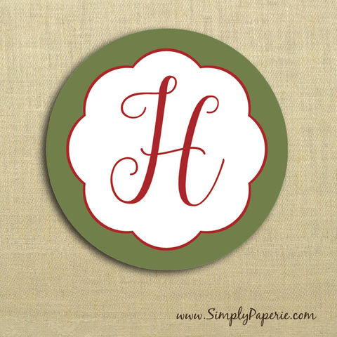 Holiday,in,Bloom,Gift,Tag,Stickers,Gift Tag, label, Sticker, to, from, red, green, holiday, bloom, blossom, floral, flower, custom, monogram,family, name, olive, crimson, alpha chi omega, 2 sticker, round, circle