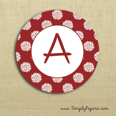 Red,Floral,Gift,Tag,Stickers,Gift Tag, label, Sticker, to, from, red, holiday, white, scarlet, floral, flower, custom, monogram,family, name, crimson, alpha chi omega, 2 sticker, round, circle