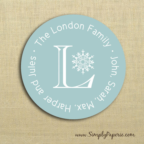 First,Frost,Gift,Tag,Stickers,Gift Tag, label, Sticker, to, from, aqua, blue, teal, holiday, white, snowflake, custom, monogram,family, name, mail, envelope closure, 2 sticker, round, circle