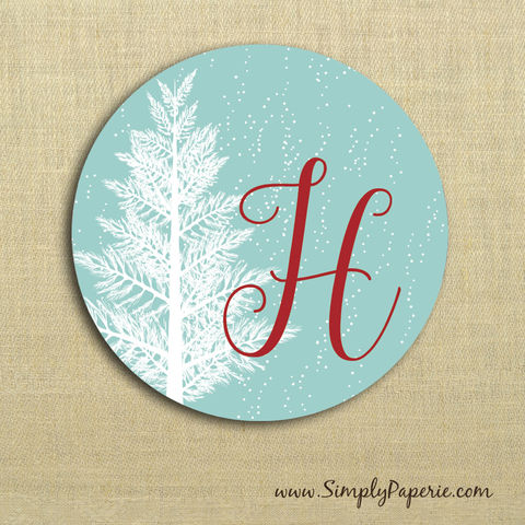 Winter,Wonderland,Gift,Tag,Stickers,Gift Tag, label, Sticker, to, from, aqua, blue, teal, holiday, white, christmas tree, snowflake, winter, snow, outdoors, custom, monogram, family, name, mail, envelope closure, 2 sticker, round, circle