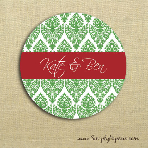 Holiday,Damask,Gift,Tag,Stickers,Gift Tag, label, Sticker, to, from, red, crimson, green, damask, elegant, holiday, white, custom, monogram, family, name, mail, envelope closure, 2 sticker, round, circle