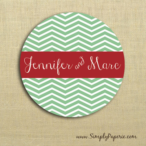 Holiday,Chevron,Gift,Tag,Stickers,Gift Tag, label, Sticker, to, from, red, crimson, green, chevron, script, calligraphy, trendy, modern, fun, holiday, white, custom, monogram, family, name, mail, envelope closure, 2 sticker, round, alpha chi omega, circle