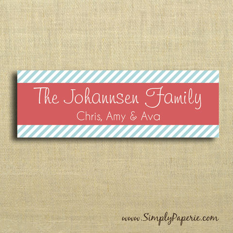 Modern,Striped,Gift,Tag,Stickers,Gift Tag, label, Sticker, to, from, red, pink, coral, aqua, teal, stripe, diagonal, from Santa, snowflake, banner, modern, holiday, white, custom, monogram, family, name, mail, envelope closure, 3 x 1 sticker, rectangle