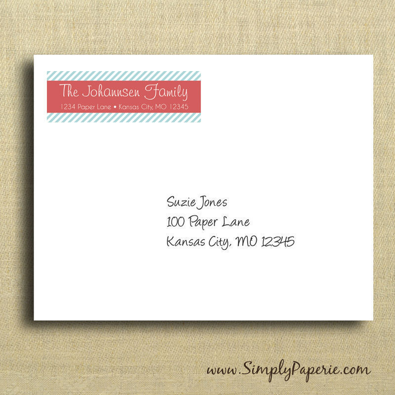 modern striped return address labels simply paperie