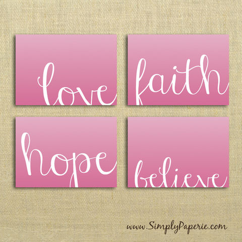 Keep,the,Faith,Notecard,Set,Paper Goods, Cards, Blank, pink, faith, hope, believe, love, keep the faith, breast cancer, notecard, note, card, 4 bar, 5 x 3.5, foldover card, thank you, The Artisan Group