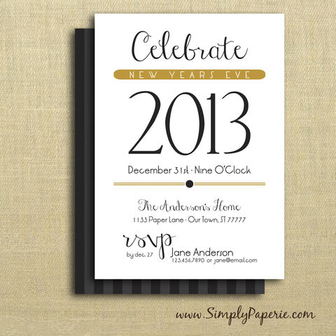 Celebrate,New,Year,Party,Invitations,new years eve, 2014, black, gold, winter, holiday party, invitation, party, classic, cocktail party, modern, trendy, 5 x 7, elegant, style, winter party