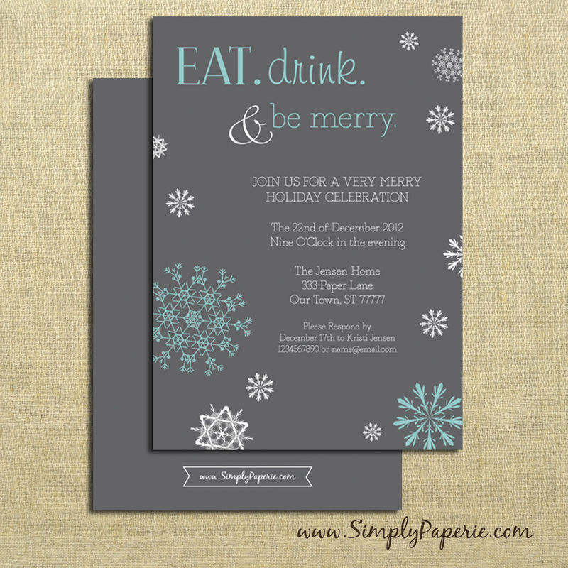 Eat Drink and Be Merry Party Invitations - Simply Paperie