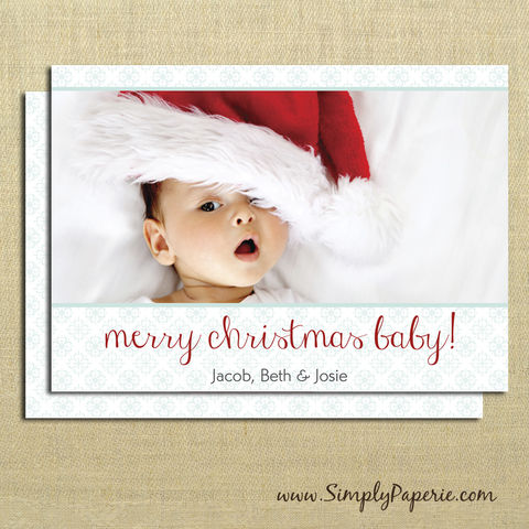 Merry,Christmas,Baby,Photo,Cards,christmas, holiday, card, baby, family, photo, flower, mint green, green, red, merry christmas baby, cute, child, children, modern, trendy, 5 x 7