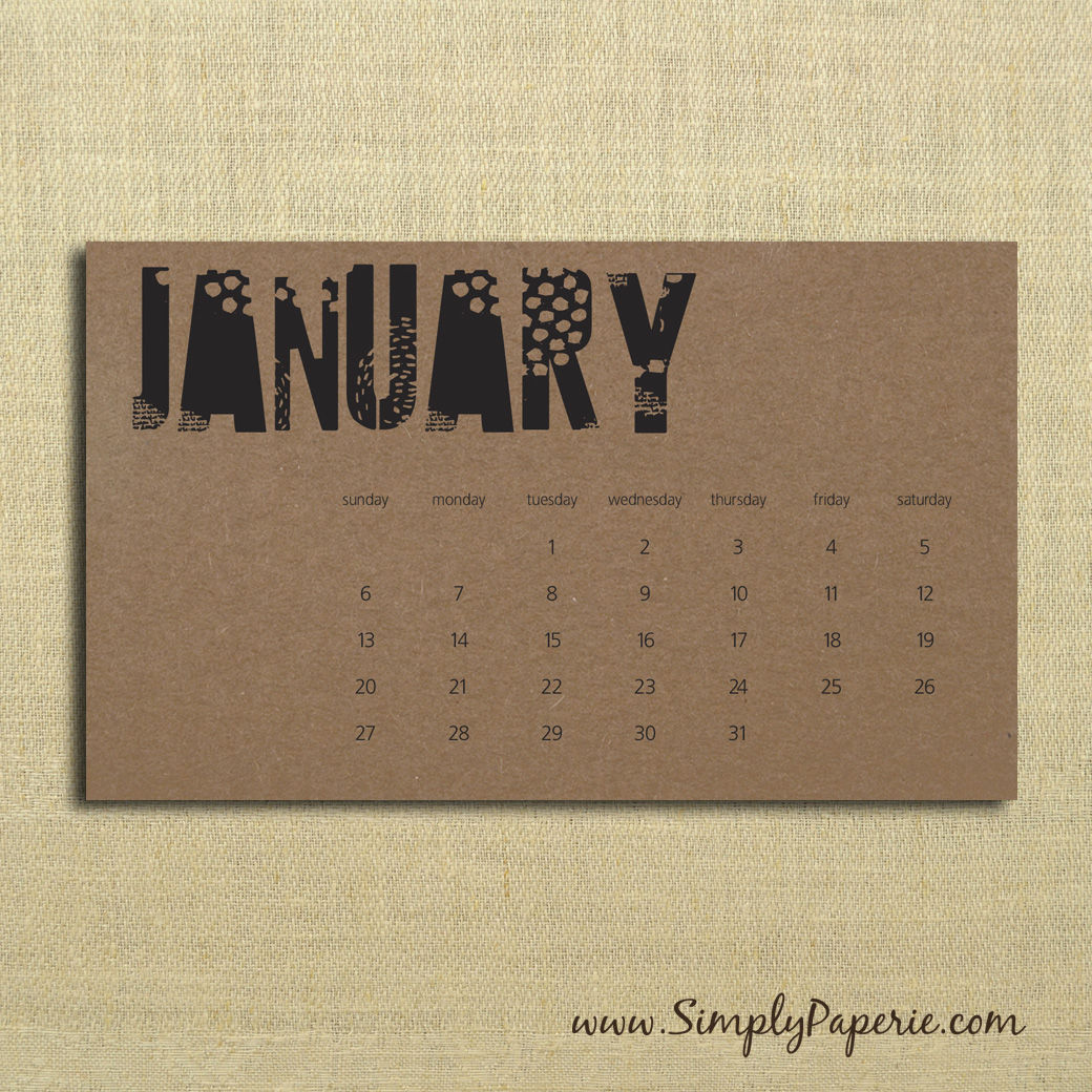 Typography Desk Calendar : Black and kraft typography calendar simply paperie