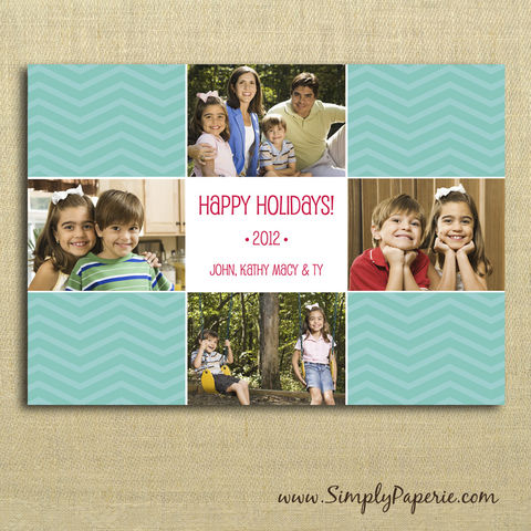 Family,Collage,Photo,Card,(4,Images),christmas, holiday, card, red, child, children, family, photo, collage, chevron, aqua, teal, green, family photo, picture collage, baby, modern, trendy, 5 x 7