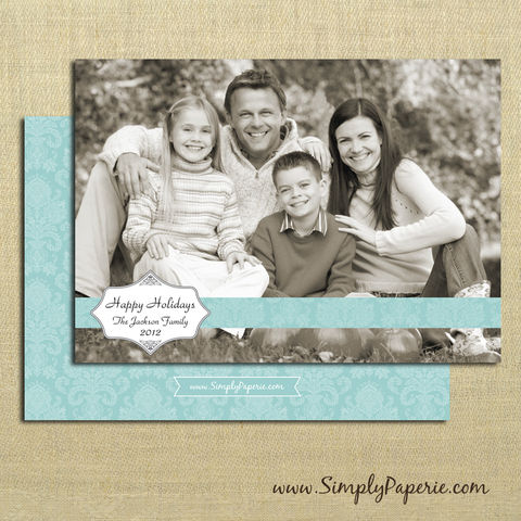 Elegant,Damask,Photo,Card,christmas, holiday, card, child, children, family, photo, damask, elegant, aqua, teal, baby, modern, trendy, 5 x 7