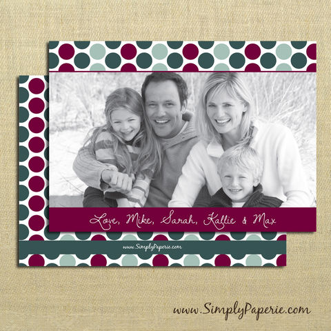 Polka,Dot,Photo,Card,christmas, holiday, card, child, children, family, photo, polka dots, dark red, cranberry, dark green, hunter green, mint green, light green, jewel tones, baby, modern, trendy, 5 x 7