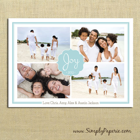 Joy,Collage,Photo,Card,christmas, holiday, card, child, children, family, photo, collage, joy, aqua, teal, grey, family photo, frame, picture collage, baby, modern, trendy, 5 x 7