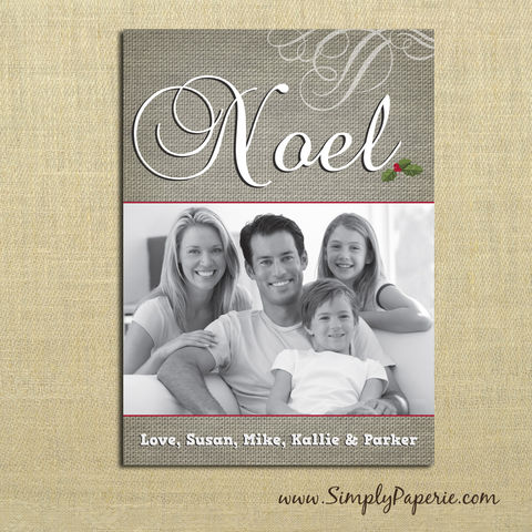 Noel,Photo,Card,christmas, holiday, card, child, children, family, photo, noel, burlap, rustic, portrait, swirl, baby, modern, trendy, 5 x 7