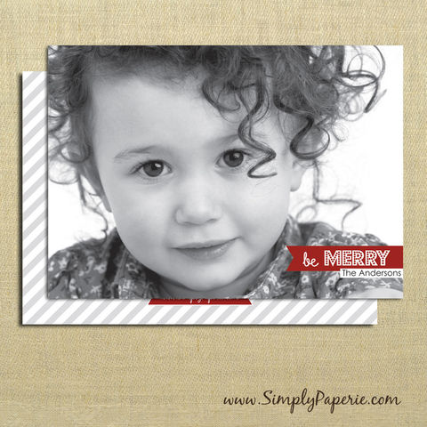 Be,Merry,Photo,Card,christmas, holiday, card, be merry, grey, red, child, children, family, photo, stripe, diagonal, polka dots, silver, baby, modern, trendy, 5 x 7