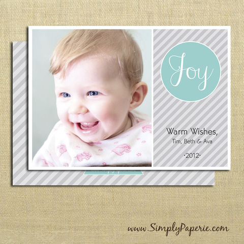Joy!,Photo,Card,christmas, holiday, card, joy, family, photo, stripe, diagonal, grey, teal, aqua, silver, baby, modern, trendy, 5 x 7