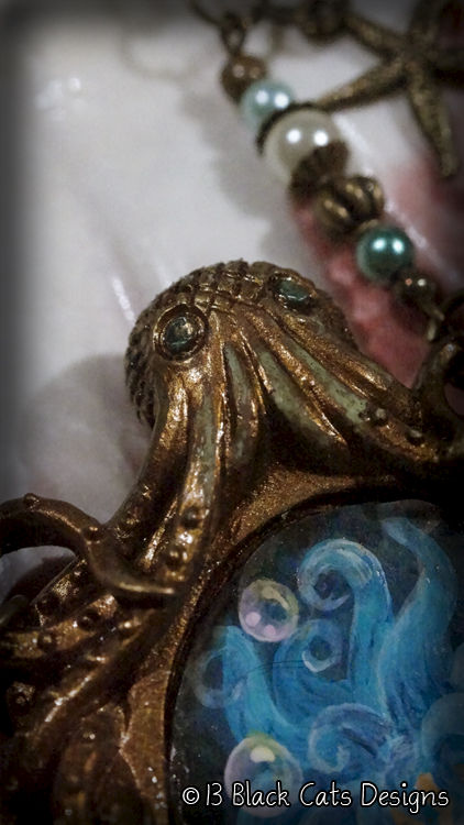 Little Mermaid and Octopus Hand Painted Pendant Necklace - product images  of