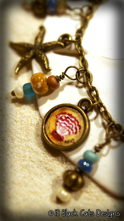 Hand-painted Down By The Sea Charm Bracelet - product images  of
