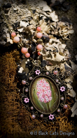 Pink,Hyacinth,Hand,Painted,Pendant,Necklace,hyacinth, pink, spring, hand painted, canvas, wearable art, miniature painting, flower, floral, painting, antique