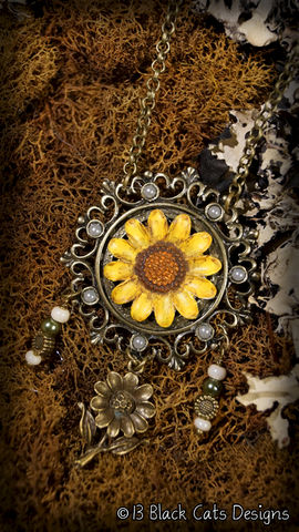 Sunflower,Hand,Painted,Pendant,Necklace, flower, floral jewelry, yellow, hand painted, canvas, wearable canvas, wearable art, miniature painting, painting, antique