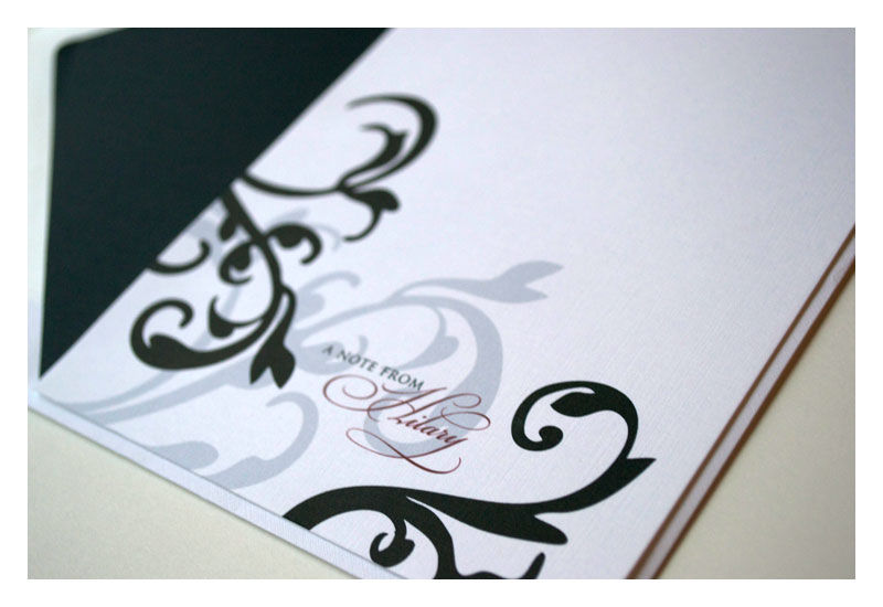 Personalized Stationery Flat Note Set Modern Damask Design - product images  of