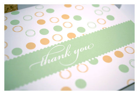 Designer,Pattern,Thank,You,Note,Set,:,Green,Paper_Goods,Stationery,thank_you_notes,note_cards,circles,dots,sherbert,pastel_colors,pink,orange,the_artisan_group,stationery_set,sparetire_design,baby_shower,Quality_paper,linen_paper,crest_paper,felt_paper