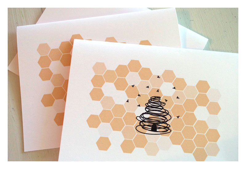 Designer Honey Bee Stationery Note Card Set - product images  of