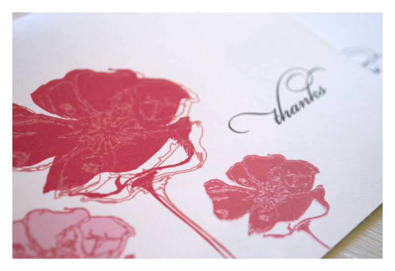 Poppies Stationery Set of Thank you Notes - product images  of