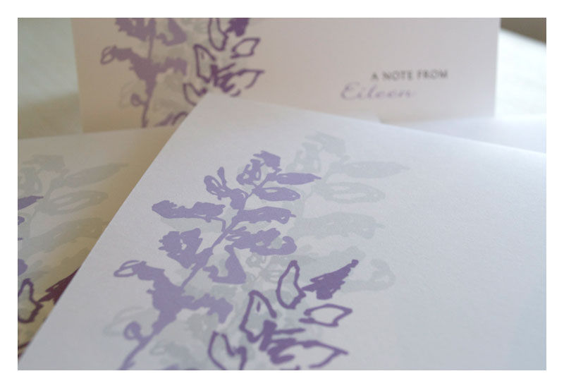 Lavender Flower Personalized Note Card Stationery Set - product images  of