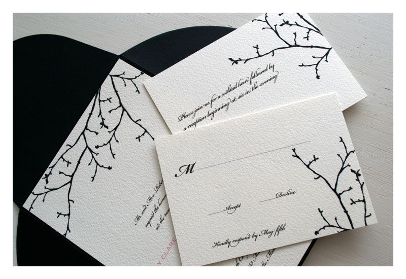 Silhouette Branch Winter Wedding Invitation Product Images Of