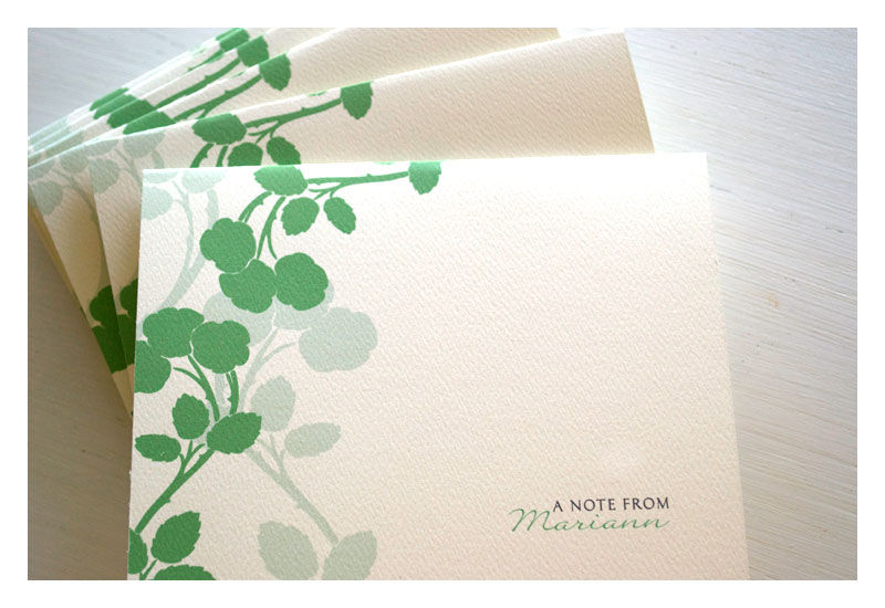 stationery note card set apple blossom design   personalized green