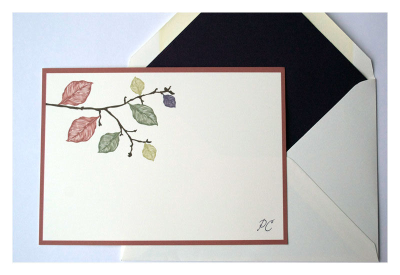 Fall Leaves Design Personalized Stationery Note Cards - product images  of