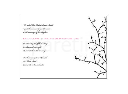 Budding,Silhouette,(Winter),Stationery,Design,winter branch, silhouette, tree, note cards, flat notes, half sheet stationery, invitations, party invites, shower invites, save the dates, thank you notes, wedding invites, wedding invitations, wedding day stationery