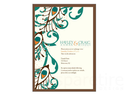 Damask and Peacock Stationery Design - product images