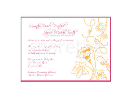 Trumpet,Vine,and,Flower,Stationery,Design,trumpet vine, trumpet flower, vine, vine design, traditional, note cards, flat notes, half sheet stationery, invitations, party invites, shower invites, save the dates, thank you notes, wedding invites, wedding invitations, wedding day sta