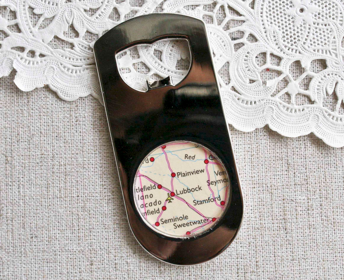 lubbock texas map bottle opener paper and place. Black Bedroom Furniture Sets. Home Design Ideas