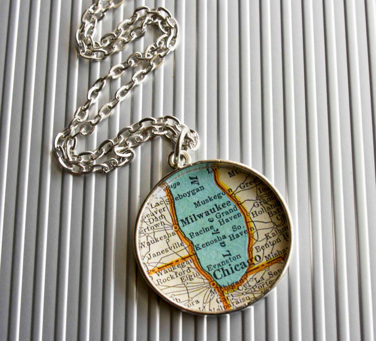 Chicago Milwaukee Large Map Necklace Brazed Brand  Handcrafted - Chicago map necklace