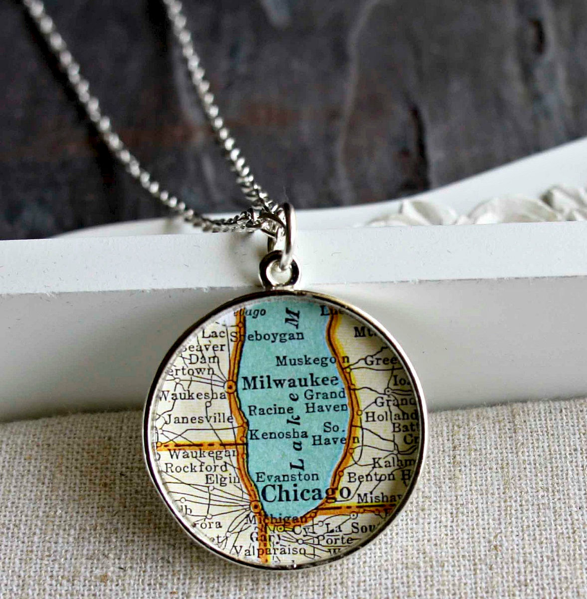 Chicago Milwaukee Large Map Necklace