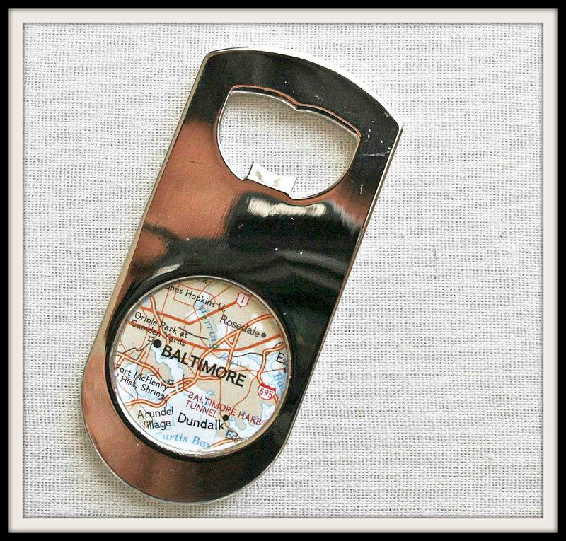baltimore map beer bottle opener paper and place. Black Bedroom Furniture Sets. Home Design Ideas