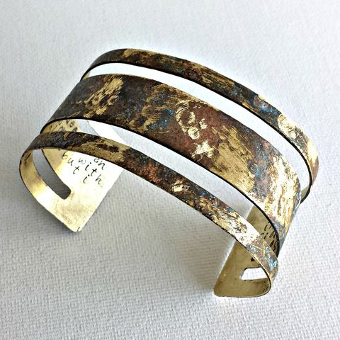 Actress,Viola,Davis,Handstamped,Hidden,Message,Brass,Patina,Cuff,Bracelet,viola davis