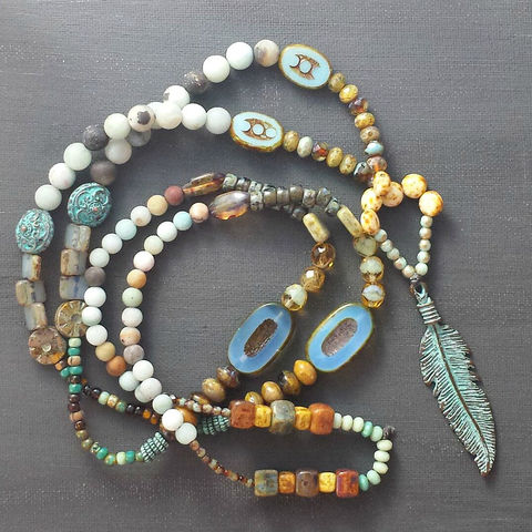 Festive,and,Bold,Beaded,Necklace,with,Feather,Pendant,brass jewerly, patina jewelry, patina necklace, boho jewelry, verdigris, brass semi circle, agate necklace