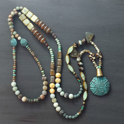 Festive,and,Bold,Beaded,Necklace,with,Blue,Green,Verdigris,Sea,Urchin,Pendant,brass jewerly, patina jewelry, patina necklace, boho jewelry, verdigris, brass semi circle, agate necklace