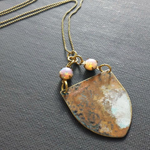 Brass,Patina,Shield,with,Vintage,Glass,Opal,Stones,brass jewerly, patina jewelry, patina necklace, boho jewelry