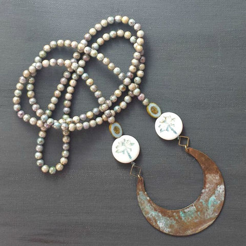 Beaded,Patina,Necklace,with,Dragonfly,Beads,brass jewerly, patina jewelry, patina necklace, boho jewelry, verdigris