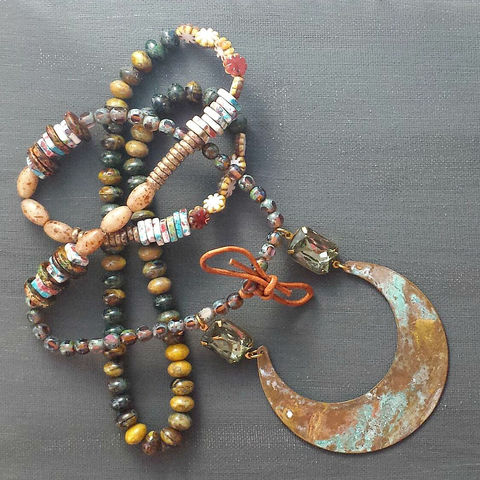 Festive,Beaded,Patina,Necklace,brass jewerly, patina jewelry, patina necklace, boho jewelry, verdigris