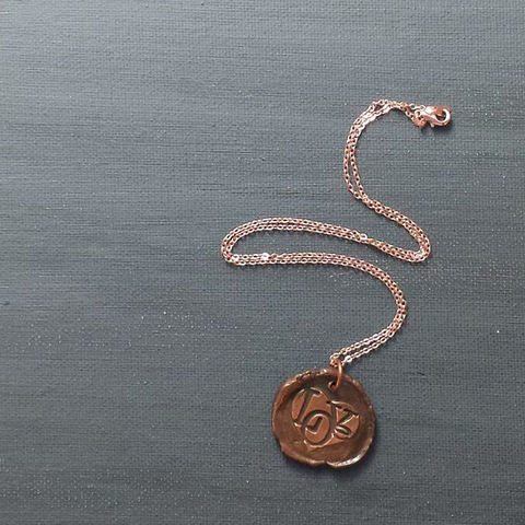 Love,Heart,Wax,Seal,Charm,Necklace,love, heart, wax seal, copper