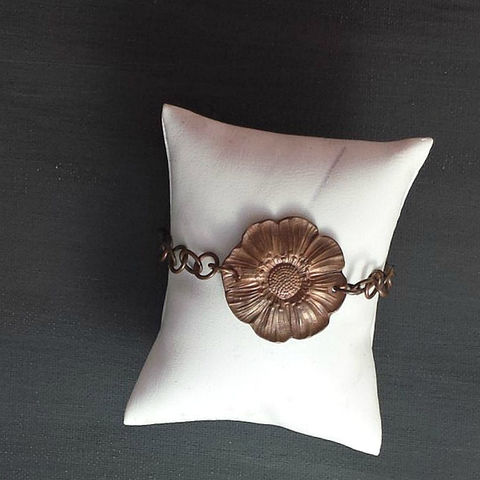 Rustic,Flower,Copper,Charm,Bracelet,wax seal necklace, travel pendant, flower, charm