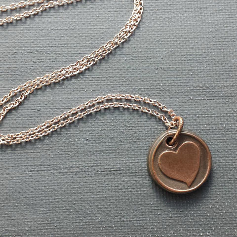 Small,Heart,Copper,Wax,Seal,Charm,Necklace,love, heart, wax seal, copper