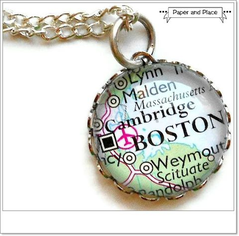 Map,Necklace,Boston,Cambridge,Massachusetts,Bubble,Small,Petite,Simple,boston, boston map, travel map necklace,Jewelry,pendant,destination,atlas,custom,traveller,world,silver,travel,map,cambridge,student,chain,bezel