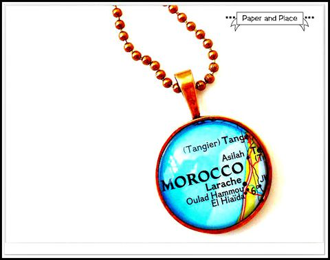 Copper,Morocco,Map,Necklace,Includes,Chain,morocco, moroccan, morocco map, Jewelry,map,recycle,anniversary,wedding,wife,vacation,necklace,map_necklace,copper,unique,modern,travel,pendant,bezel,glass,chain